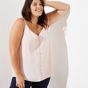 LOFT Plus Covered Button Down Cami Shell Pink 3X